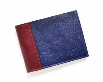 Slim Leather Wallet / Mens Leather Wallet / Minimalist Wallet / Bifold Wallet / Gift for Him - The Frankie Wallet in Royal Blue