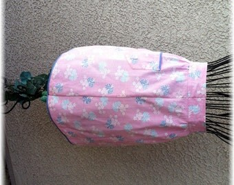 PINK PRINT with Blue Bows - Half Apron - Size 10