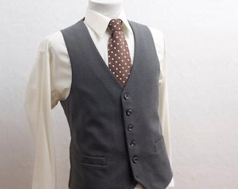 Men's Suit Vest / Vintage Grey Waistcoat / Size 42 Medium Large