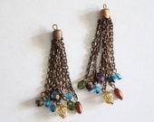 Vintage beaded copper chain tassels (2)
