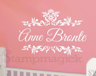Personalized Baby Girl Name Wall Decal - Baby Name Vinyl Wall Decal Graphics Decor - custom name decal for nursery - K070