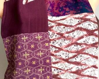 Purple Grape Magenta Silk Scarf Vintage Japanese Kimono OOAK  -  Gita