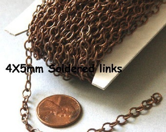 100ft spool of Antiqued copper round cable chain 4X5mm - Soldered Links, copepr bulk chain, brass bulk chain, bulk round cable chain