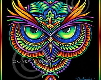Psychedelic Rainbow Owl Trippy Hippie Owleister CANVAS BIG Prints