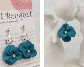 Teal Flower Necklace and Earrings - Polymer Clay & Sterling Silver