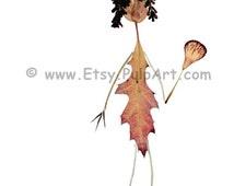 Pressed flower art - Petal People - Quirky greeting card, made of pressed botanicals - Oshibana - Digital print of OOAK art - Fly swatter