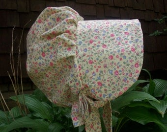 """Girls Pioneer bonnet (Yellow calico cotton) """"Special Price for ready to ship"""""""