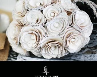 Clearance! Ivory Wood Rose Heart Kissing Pomander Ornament DIY Wedding