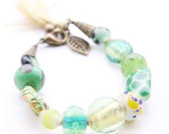 Green Lampwork Glass Beaded Bracelet on Celery Yellow Cord with Tassel (B65B)