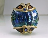 Brown Blue Green Ivory Silver Lampwork Focal Bead  SRA Glass Bead