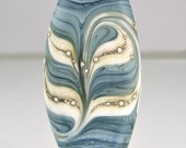 Etched Blue Ivory Silver Lampwork Focal Bead
