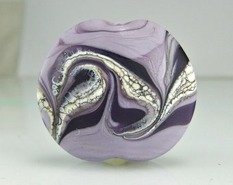 Etched Purple Silvered Ivory Lampwork Focal Bead