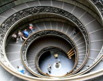 Roman Holiday - Vatican Spiral (staircase abstract motion photo print, grey gold circular stairs, Vatican City Italy travel photography)