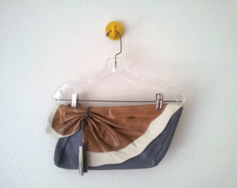 Leather Ruffle and Tassel Clutch