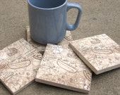 Old World Map Coasters - Coasters for Dad - Set of 4 - Hand Stamped