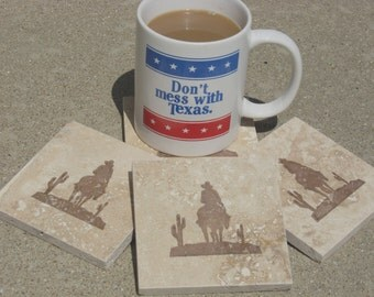 Western Coasters - Cowboy Tile Coasters - Set of 4 - Dad - Ready To Ship