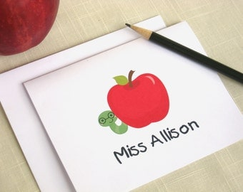 Personalized Teacher Note Cards - Apple Note Cards - Set of 25
