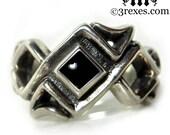 Mens Silver Celtic Ring Black Onyx Stone Gothic Wedding Band Bohemian Z Size 11