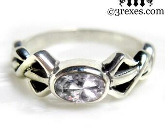 Pixie Friendship Ring Silver Celtic Knot White CZ Stone Size 4