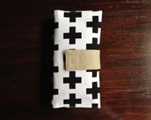 On-The-Go Diaper Clutch Black and White Swiss Cross - Personalized