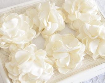 New! Set of 2pcs handmade silk flowers--ivory (FB1064)