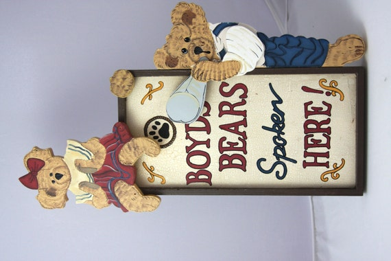 Sungard Exhibition Stand Here Alone : Vintage boyds bears spoken here sign collectible by