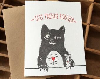 letterpress zombie BFF card