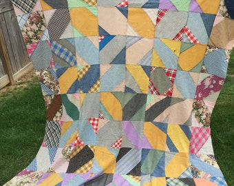 Vintage Hand Pieced String or Strip Quilt Top