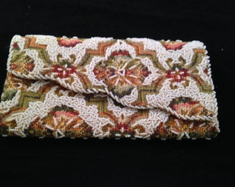 Vintage Tapestry and Beads Clutch Purse/Handbag