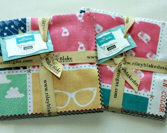 """SALE 2 Packs - 5"""" inch squares MODERN MINI'S charm pack fabric by Riley Blake by Lori Holt"""