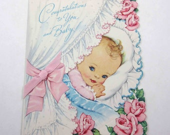 Vintage Baby Greeting Card with Baby in Bassinet or Bed with Pink Roses and Ribbon by Fairfield