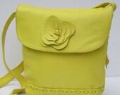 HANDMADE LEATHER BAG  Smiling Happy Yellow Shoulder Bag