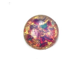 Glass Cabochons Czech 15mm Round Fire Opal (1) GC064