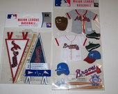 MLB Atlanta Braves Scrapbooking Sticker Uniform and Pennants