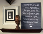 Small 11x18 Love Grows Best In Little Houses Chalkboard Style Typography Sign Board