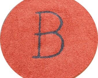 4ft Round Orange Frieze Rug with B initial Inlay in Gray Brand New Custom