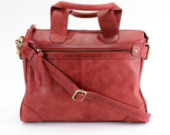 Leather Handbag Purse Tote, distressed red vintage leather
