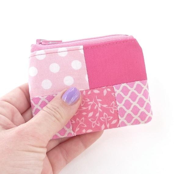 pink mini zipper pouch coin purse. tiny zipper pouch. patchwork toddler little girl gift. fabric coin purse