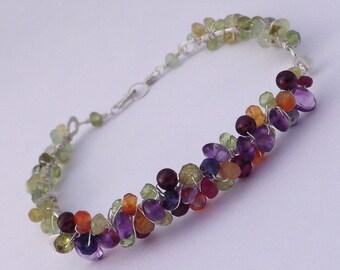 Mixed Gemstone Wire Wrapped Bracelet -- Multicolor Beaded Bangle