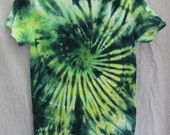 Tie Dye Shirt - Small Adult - Crew Neck - Short Sleeve -  Dark Blue, Green and Yellow - 100% Cotton