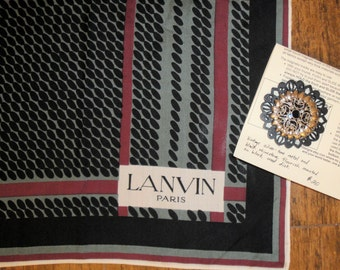 Vintage Scarf, Lanvin Paris 1950s 22 inch square Grey, Burgundy and Black, Sheer, No fabric label, Bonus magnetic back brooch