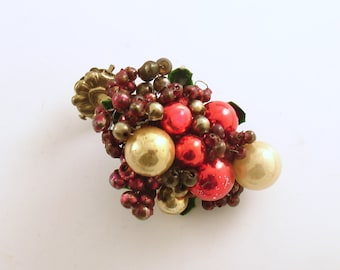 Vintage Christmas Clip On Ornament Glass Beads Glass Balls