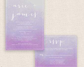 VIOLET WATERCOLOR - DIY Printable Wedding Set - Invitation and Reply Card