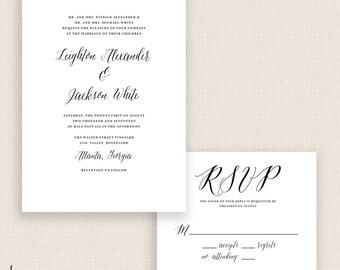 CLASSIC WHITE - DIY Printable Wedding Set - Invitation and Reply Card