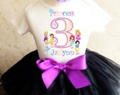 Baby Toddler Princess Rapunzel Tangled Belle Snow White Cinderella Ariel 3rd Girl Birthday Tutu Outfit Personalized Name Age Party Shirt Set