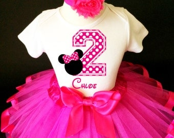 Hot Pink Minnie Mouse White Polka dots dotted 2nd Second Girl Birthday Tutu Outfit Custom Personalized Name Age Party Shirt Set