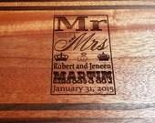 Personalized Cutting Board - Wedding Gift, Anniversary, Custom - Walnut & Mahogany - ENGRAVED