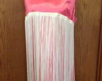 Frisky Vintage 1960's Hot Pink Satin Fringe Flapper Party Dress 38 bust Size M/L