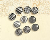 10pcs handmade assorted black and white geometric black and white round glass dome cabochons 12mm (12-9739)