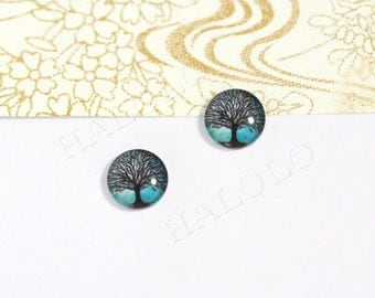 Sale - 10pcs handmade tree clear glass dome cabochons 12mm (12-9547)
